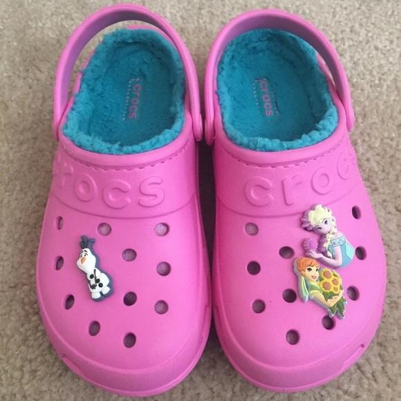 675ec4478fa2e CROCS Other - Crocs Frozen Pink Fur Slip On Shoes Girls SZ J 3